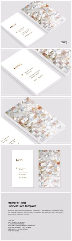 Mother of Pearl Business Card by 8 3 O™ on @creativemarket