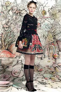 designers Pierpaolo Piccioli and Maria Grazia Chiuri, for the latest RED   Valentino's RTW AW 2013-14 collection, a playful, dainty approach to folklore full of gripping details and cherished childhood memories.