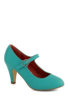 Member of the Board Heel in Turquoise - Blue, Solid, Wedding, Work, Graduation, Bridesmaid, Mid, Good, Minimal, Faux Leather, Mary Jane, Variation