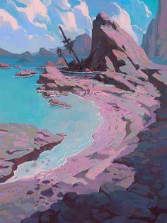 Dive into The Art of Slawek Fedorczuk, Polish Concept Artist for Animation & Video Game. Environment Sketch, Environment Painting, Environment Design, Landscape Concept, Fantasy Landscape, Landscape Art, Fantasy Concept Art, Fantasy Art, Landscape Illustration