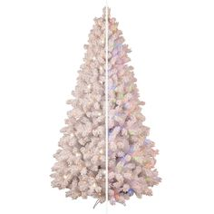 shop ge 75 ft pre lit pine flocked artificial christmas tree with color changing