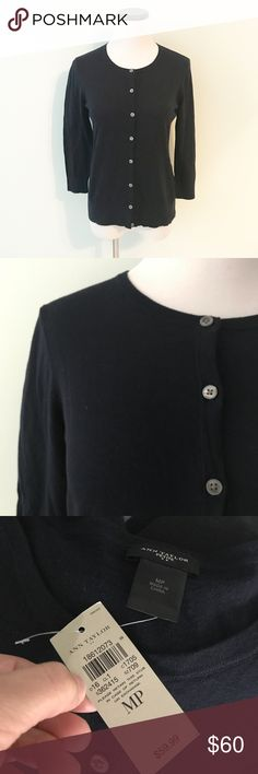 """ANN TAYLOR Navy blue cotton Cardigan Petite New with tags. Navy blue cotton Cardigan. Medium petite. Chest 18"""". Length 23"""". Ann Taylor Factory Sweaters Cardigans"""