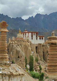 Lamayuru or Yuru Gompa (Tibetan alphabet: བླ་མ་གཡུང་དྲུང་དགོན་པ་, Wylie: bla ma gyung drung dgon pa, Urdu:لمیرو گومپا) is a Tibetan-Buddhist Gompa (Monastery) in Kargil District, Western Ladakh, India, situated on the Srinagar - Kargil - Leh road 15 km east of the Fotu La, at a height of 3,510 meters.