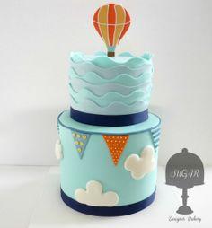 Hot Air Balloon double barrel cake Sugar Designer Bakery