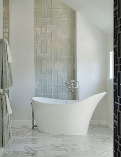Interesting wall treatment for master bathroom