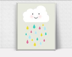 Nursery Cloud Art, Cloud Rain, Rainbow Cloud, Kids Wall Art, Inspirational Wall Art, Art Printables, Creative Home Decor #wallart #posters #inspirational