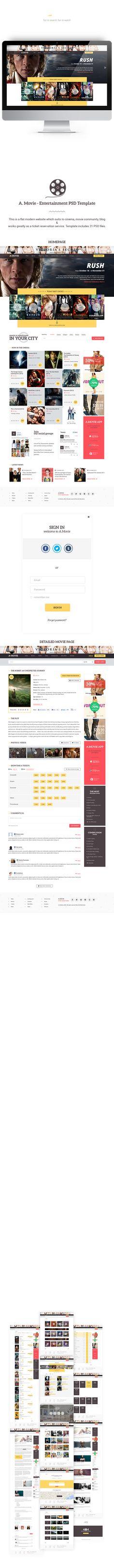 A.Movie - Cinema/Movie PSD Template by Olia Gozha, via Behance
