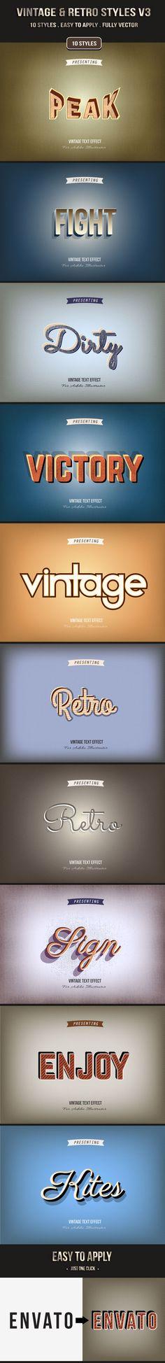 Vintage & Retro Styles V3 - Styles Illustrator