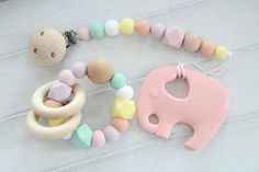 Teething gift set for baby / pacifier clip and teething toy /