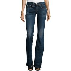 rag & bone/JEAN Mid-Rise Boot-Cut Jeans ($245) ❤ liked on Polyvore featuring jeans, bishop, 5 pocket jeans, fitted jeans, boot cut jeans, mid rise bootcut jeans and mid-rise jeans