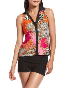 Mixed Print Button-Down Tank: Charlotte Russe