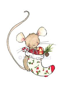 Holiday Decor MERRY MOUSE Art Print by trafalgarssquare on Etsy