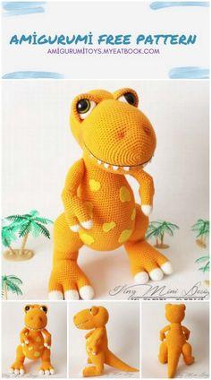 Crochet Dinosaur Pattern Free, Crochet Amigurumi Free Patterns, Crochet Animal Patterns, Stuffed Animal Patterns, Crochet Doll Tutorial, Crochet Dragon, Cute Crochet, T Rex, Crochet Projects
