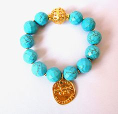 Faceted Turquoise bracelet with Hebrew by Thingsfromtheheart, $38.00