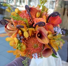 Lots of texture and funky flowers! #bridalbouquet #wedding #princeton #nj #florist www.perfectweddingflowers.com