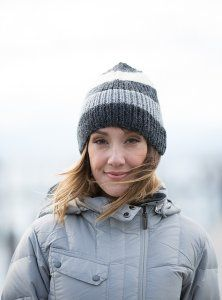 """Ribbed Striped Hat Kit - priced from $56.85 to $76.80. """"This basic ribbed hat with a little slouch, inspired by X-Games Champion snowboarder Nate Holland, is modern and versatile in shades of wintry gray."""""""