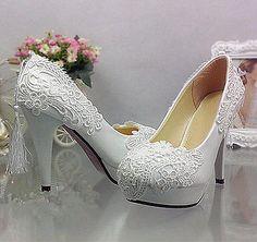 Flats/4/7/10cm heel white pearl lace Wedding shoes Bridal pu...