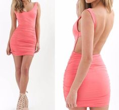 Deep Open-Back Party Dress   #Fashion #love #rompers #DreamClosetCouture #dresses