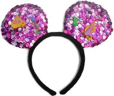 Let Your Hair Down Handcrafted Homemade Sequin Costume Mouse Ears Headband are the perfect pair of mouse ears for toddlers, children, and adults with...  #disneyprincess #rapunzel #tangled #disneyears #disneyworld #mickeyears #disneyland #disneyside #etsy #disneymovie #mouseears #disneythemed