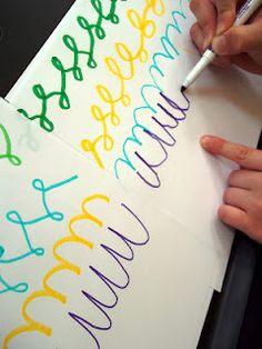 cursive writing art and fun Great pic! Have a look at this Cursive Handwriting post. Teaching Cursive, Teaching Writing, Writing Activities, Elementary Teaching, English Activities, Teaching Ideas, Cursive Handwriting, Cursive Letters, Writing Cursive