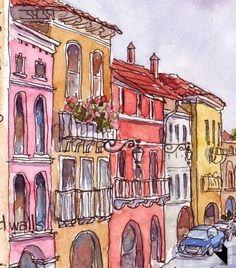 Watercolors. City view.
