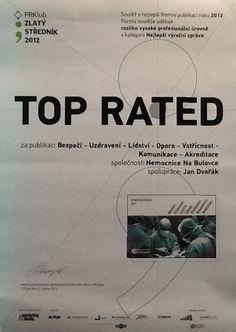 """Výroční zpráva Nemocnice Na Bulovce za rok 2011 získala ocenění """"TOP RATED"""" v kategorii Nejlepší výroční zpráva v soutěži Zlatý středník pořádané PR Klubem. Movies, Movie Posters, Films, Film Poster, Cinema, Movie, Film, Movie Quotes, Movie Theater"""