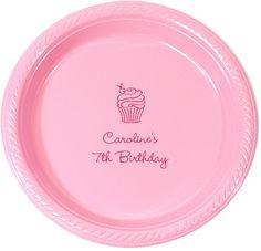 Personalized Cupcake Plastic Plates