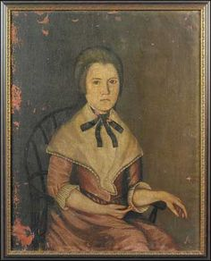 "The Beardsley Limner, Identified as Sarah Perkins (1771-1831), Portrait of a lady seated in a Windsor chair, probably Jemima Wolcott Steele (b. 1763), probably Ellington, Connecticut, c.1790, Oil on canvas, 32"" x 25 ¼"" In un-restored condition.    This portrait is believed to be the wife of James Steele whose portrait by the Beardsley Limner is in the collection of Colonial Williamsburg, along with one of their eleven children, identified as ""Child Posing with Cat""."