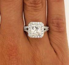 3.00 CT PRINCESS CUT D/VS2 HALO DIAMOND ENGAGEMENT RING ENHANCED 14K WHITE GOLD