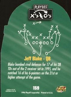 1996 Playoff Prime - X's and O's #159 Jeff Blake Back