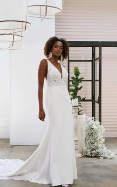 V-neckline lace double-banded bodice is encrusted with delicate beading, adding dimension and sparkle to this classic beauty. The fit from the waist to the hips highlights the body's natural curves, with a comfort fit lining ensuring all day comfort. Fabric-covered buttons along the booty cup are an unmistakably bridal finish to this chic wedding gown. Encrusted beadwork adorns a lace scalloped edge for a truly spectacular train.  Essense of Australia   Style: D3254 Wedding Dress Necklines, Wedding Dress Styles, Dream Wedding Dresses, Bridal Dresses, Wedding Gowns, Crepe Wedding Dress, Lace Wedding, Chic Wedding, Wedding Ideas