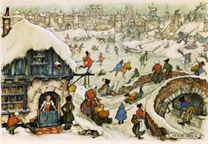 """Anton Pieck - I absolutely love these kinds of """"scenes"""" of every day life :)"""