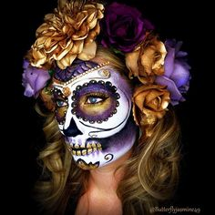 Purple and Gold Sugar Skull Halloween Makeup