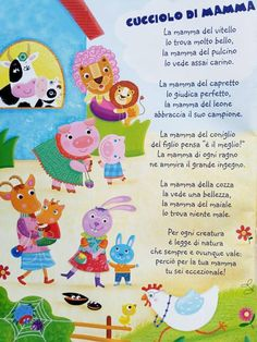 mamma Italian Language, Happy Kids, Kids Education, Nursery Rhymes, Baby Room, Projects To Try, Kids Rugs, School, Short Stories