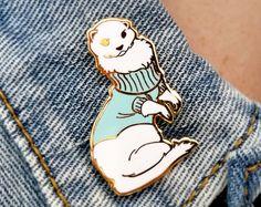 Ferret in Turtleneck Sweater Hard Enamel Pin - Blue, White, and Gold - Lapel Pin Cloisonné Badge