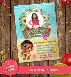 Baby Moana Invitation Card Party Invitation Baby Moana
