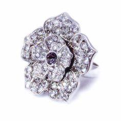 New to VintageVegasGems on Etsy: Bold Rhinestone Encrusted Layered Flower Ring - Size 7 (16.00 USD)