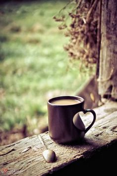 Coffee Love. Beautiful cup of coffee on a rustic wood shelf. #coffee