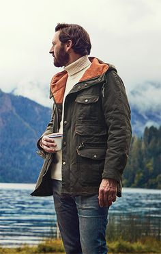 The perfect autumn coat, you'll love the rugged details of this men's jacket from Barbour. Cold, damp weather is no match for this Barbour men's jacket's waxed pure cotton shell. Mens Outdoor Fashion, Mens Fashion, Leather Men, Leather Jackets, Pink Leather, Briefcase For Men, Leather Briefcase, Barbour Mens, Trench Coat Men