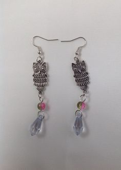 Silver Dangle Owl Charm Earrings With Drop Briolette Beads by AnnetiqueChic on Etsy https://www.etsy.com/listing/239043735/silver-dangle-owl-charm-earrings-with
