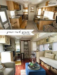 Camper remodel. The original is very similar to my grandparent's old one. Like how they added storage under the couch. Curious if it's still a pullout. Do NOT like that they got ride of the bench and table sleep option. Yeah, no one really likes having to use it, but there was storage underneath and it was there if you had a crowd over.