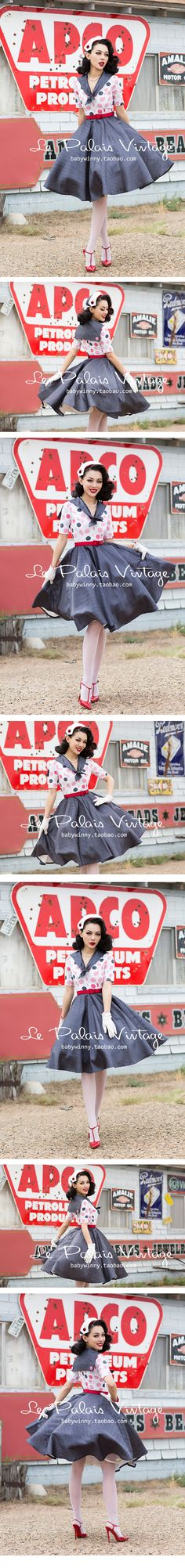 Le Palais Vintage 2016 Autumn New Navy Dots Hit Color Was Thin Accept Waist Sailor Collar Knee Length Ball Gown Dress Women-in Dresses from Women's Clothing & Accessories on Aliexpress.com | Alibaba Group
