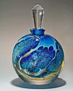 "Round Silver Veil Teal Perfume Bottle by Robert Burch – (Art Glass Perfume Bottle) ""Round Silver Veil Teal Perfume Bottle"" Art Glass Perfume Bottle Created by Robert Burch"