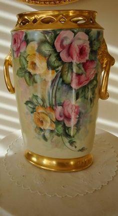 Antique Limoges France Hand Painted Porcelain Mantle Vase Roman Gold Roses