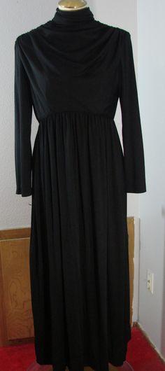 Vintage 70s Cirette Black Jersey Knit dress Long Sleeves Maxi S 36 Bust by TheScarletMonkey on Etsy