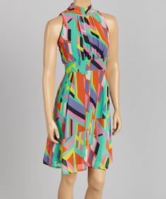 This Purple & Orange Abstract Sleeveless Dress - Women by Voir Voir is perfect! #zulilyfinds