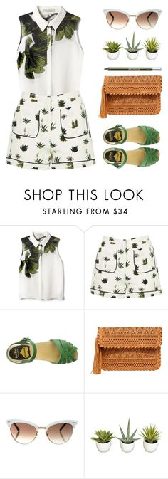 """""""Cactus Collection"""" by stavrolga ❤ liked on Polyvore featuring Elle Sasson, Topshop, Swedish Hasbeens, LULUS, Gucci, Nearly Natural, Urban Decay, printedshorts, polyvorecontest and polyvoreditorial"""