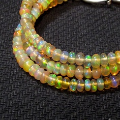 28 cts 17 3 mm Natural Real Ethiopian Fire Opal Gemstones Beads Necklace   eBay