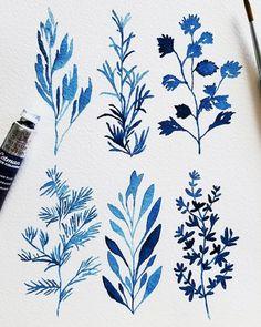 Botanicals in Prussian Blue Watercolor Plants, Wreath Watercolor, Watercolour Painting, Floral Watercolor, Watercolors, Watercolour Tutorials, Watercolor Techniques, Botanical Art, Botanical Illustration