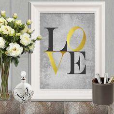 Gold Love print Gold gray love printable Nursery by DorindaArt